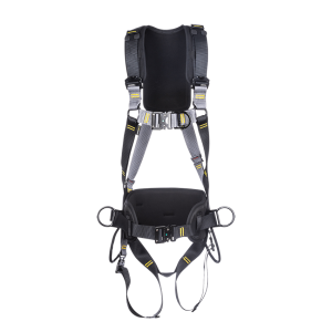 Grey and black work positioning safety harness multiple attachment points, black shoulder pad and black gear loops